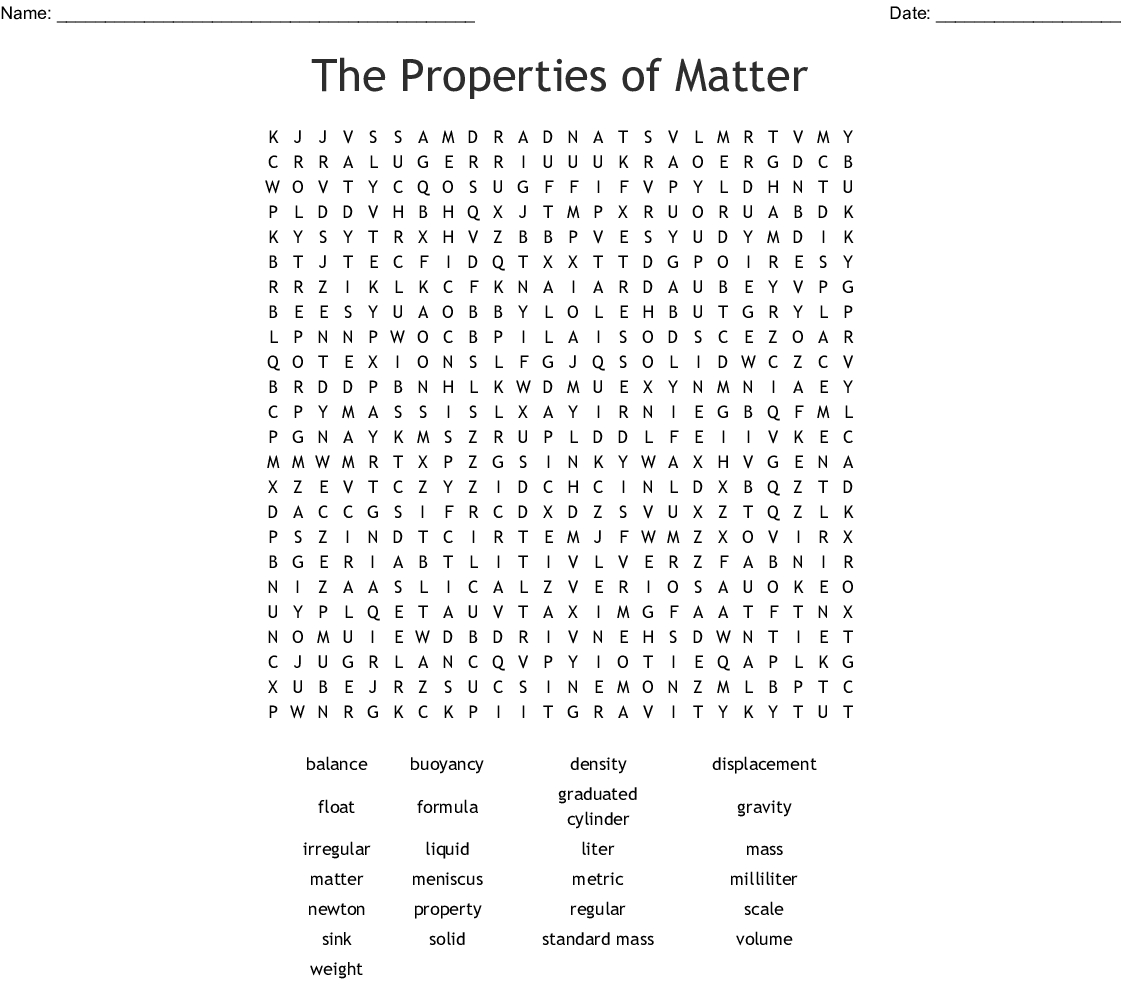 States Of Matter Word Search Printable