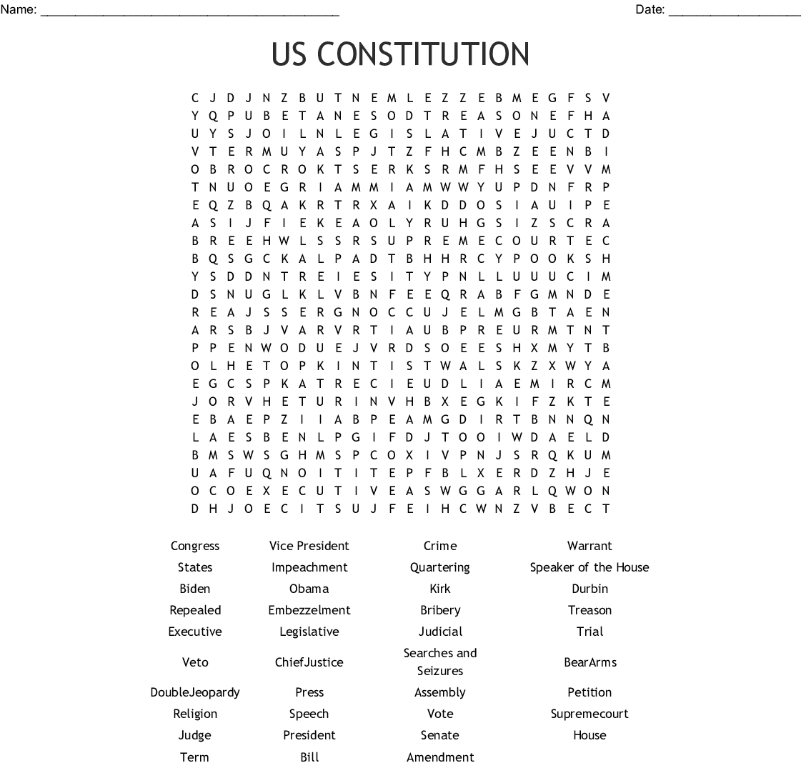 Constitution Word Search Printable