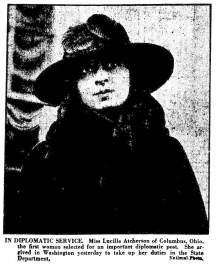 Lucille Atcherson, first woman selected for an important diplomatic post. (1922)