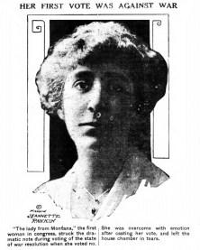 Jeannette Rankin, first woman in the US Congress. (1917)