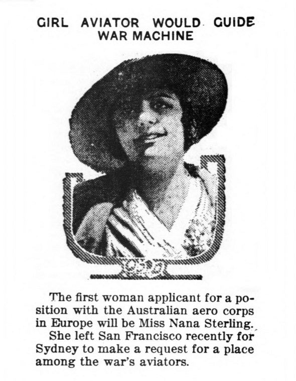 Nana Sterling, first woman applicant to the Australian aero corps in Europe. (1916)