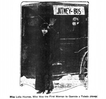Lolla Haynes, first woman Jitney operator in Toledo. (1915)