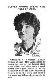 Anna Edson, first woman river boat purser. (1914)