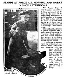 Hazel Quick, first American woman engineering student to include shop work in her training. (1914)