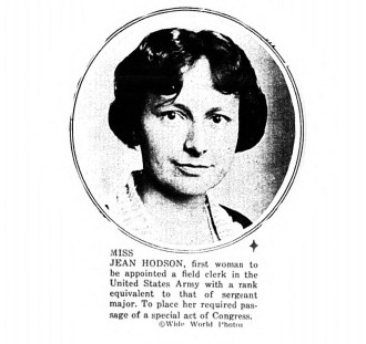 Jean Hodson, first woman field clerk in the US Army. (1922)