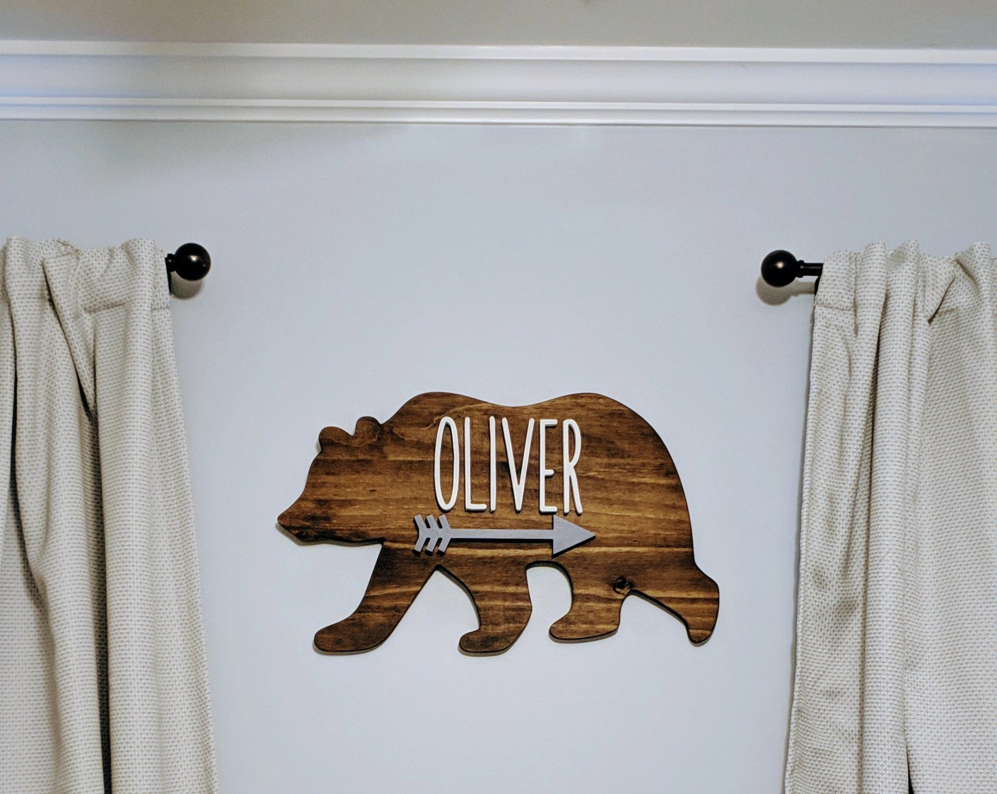 Woodland Rustic Bear Name Sign