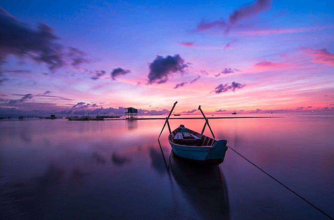 sunrise, boat, rowing boat