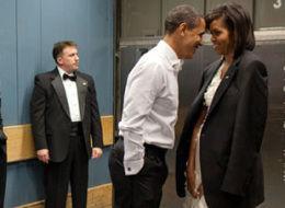The Obamas between inaugural balls