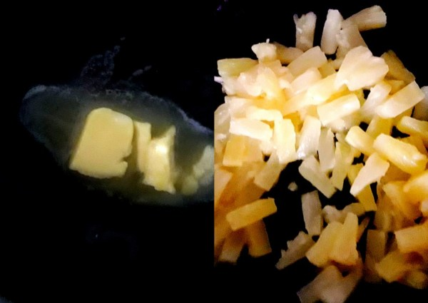 Pineapple layer - Heat butter/ghee in a pan. Sauté the pineapple slices on medium flame till golden and the juice is dry. If you are using fresh pineapple slices then add two tablespoons sugar at first. Add more sugar if needed.