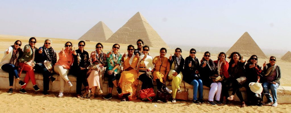 My gang of girls in front of the Pyramids