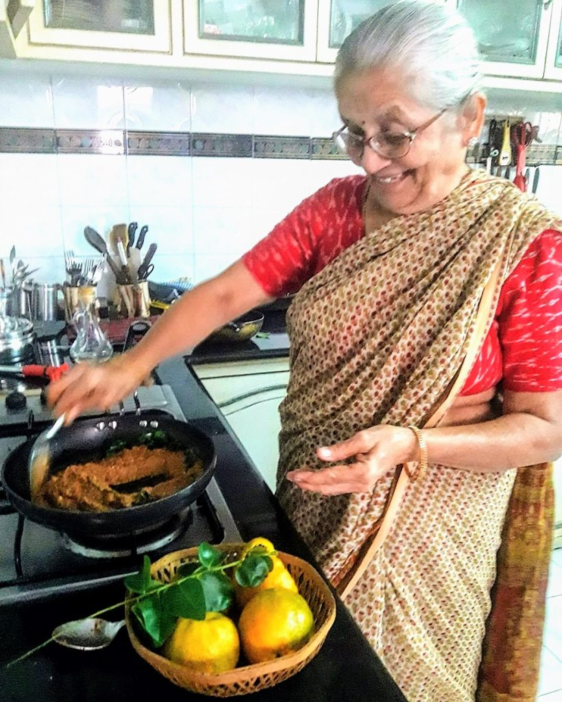 81 year old aunty making chutney