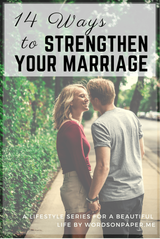 "Couple holding hands with text overlay ""14 ways to strengthen your marriage"""