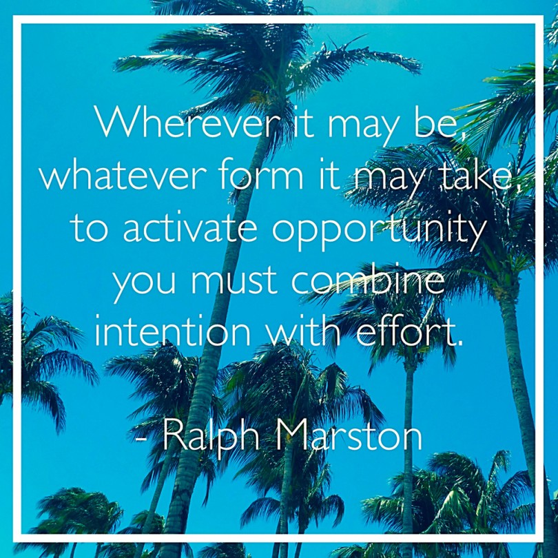 Wherever it may be, whatever form it may take, to activate opportunity you must combine intention with effort. - Ralph Marston