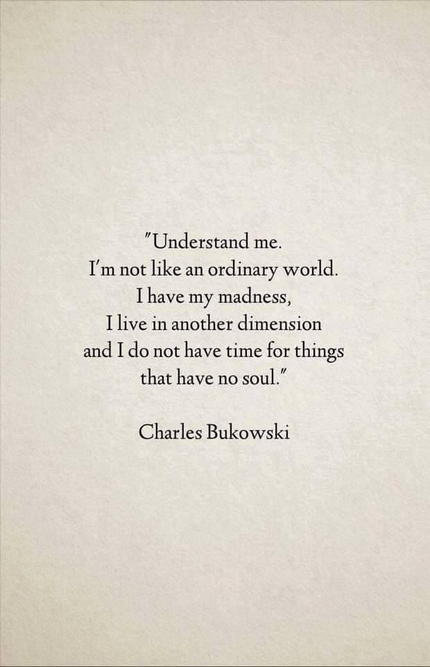 Understand me. I'm not like an ordinary world. I have my madness, I live in another dimension and I do not have time for things that have no soul. - Charles Bukowski