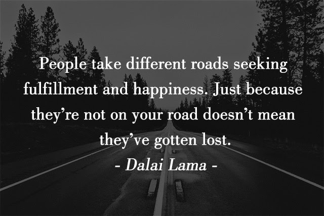 People take different roads seeking fulfillment and happiness. Just because they're not on your road doesn't mean they've gotten lost. - Dalai Lama