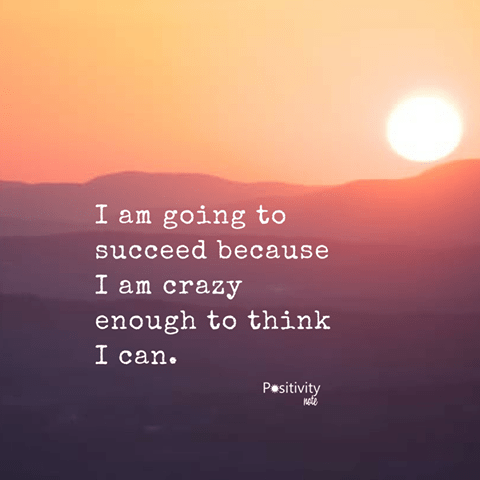 I am going to succeed because I am crazy enough to think I can.