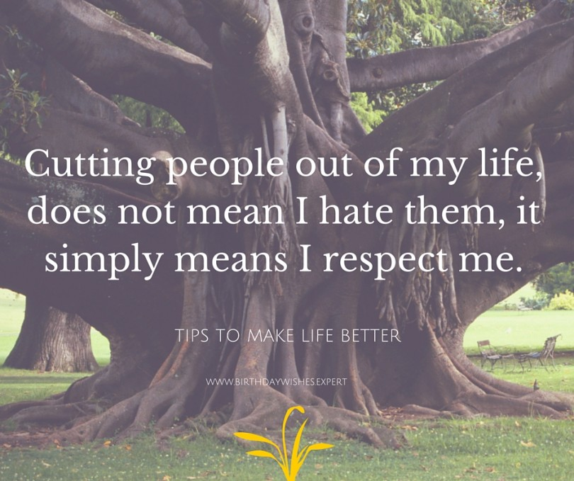 Cutting people out of your life does not mean I hate them, it simply means I respect me.