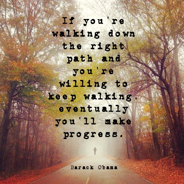 If you're walking down the right path and you're willing to keep walking, eventually you'll make progress. - Barack Obama