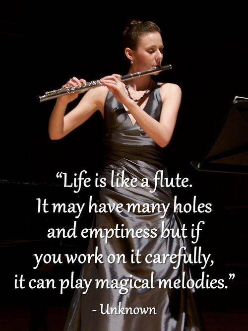 Life is like a flute. It may have many holes and emptiness but if you work on it carefully, it can play magical melodies.