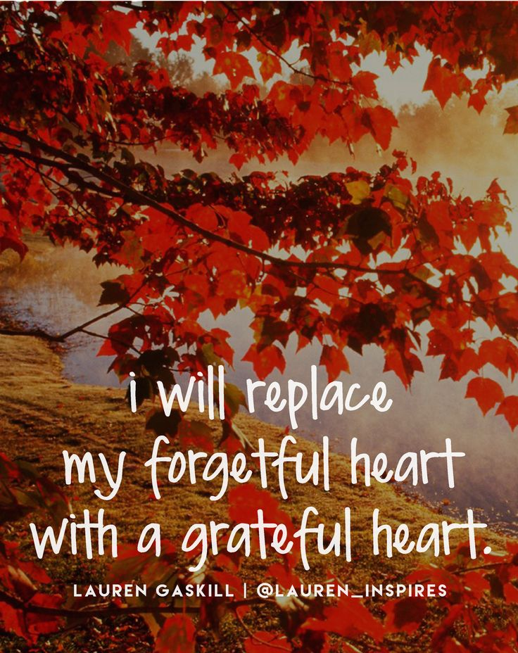 I will replace my forgetful heart with a grateful heart.