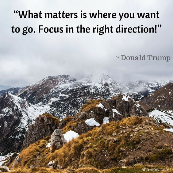 What matters is where you want to go. Focus in the right direction! - Donald Trump