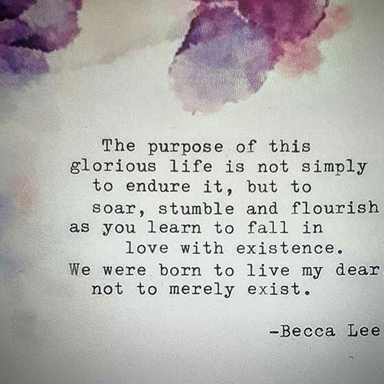The purpose of this glorious life is not simply to endure it, but to soar, stumble and flourish as you learn to fall in love with existence. We were born to live my dear not to merely exist. -Becca Lee