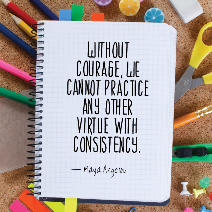 Without courage, we cannot practice any other virtue with consistency. - Maya Angelou
