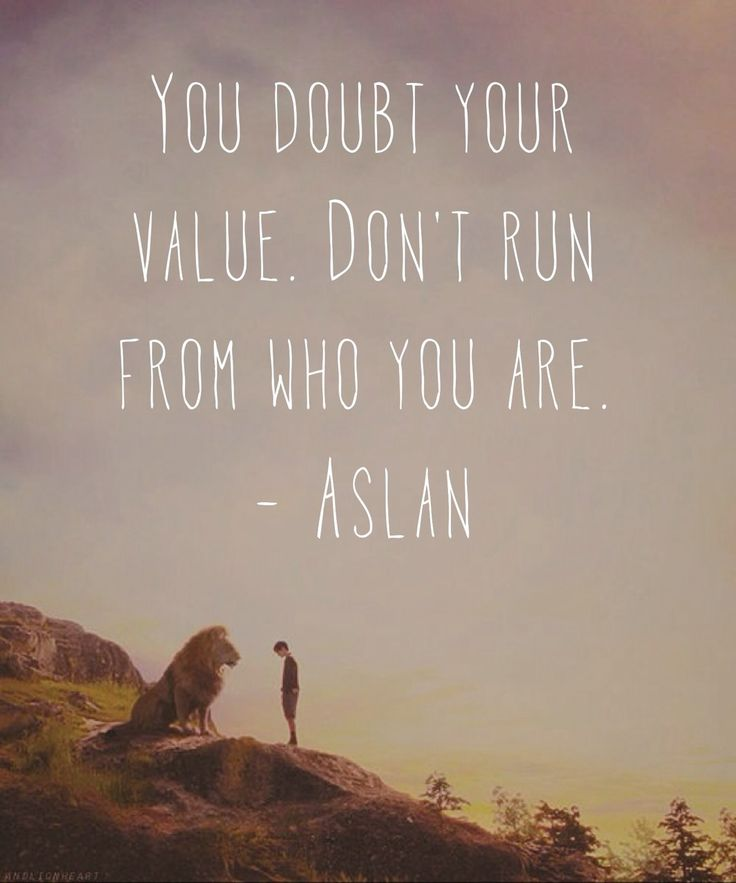 You doubt your value. Don't run from who you are. - Aslan / The Lion, the Witch & the Wardrobe