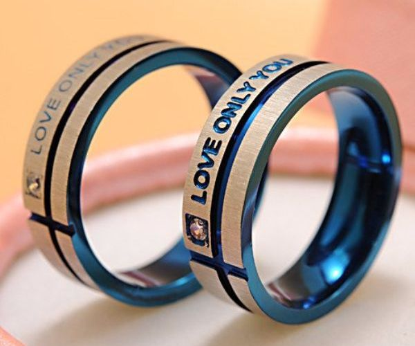'Love Only You' Blue Couple Ring