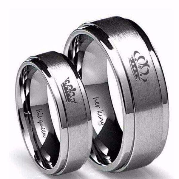 'His Queen' and 'Her King' Couple Ring
