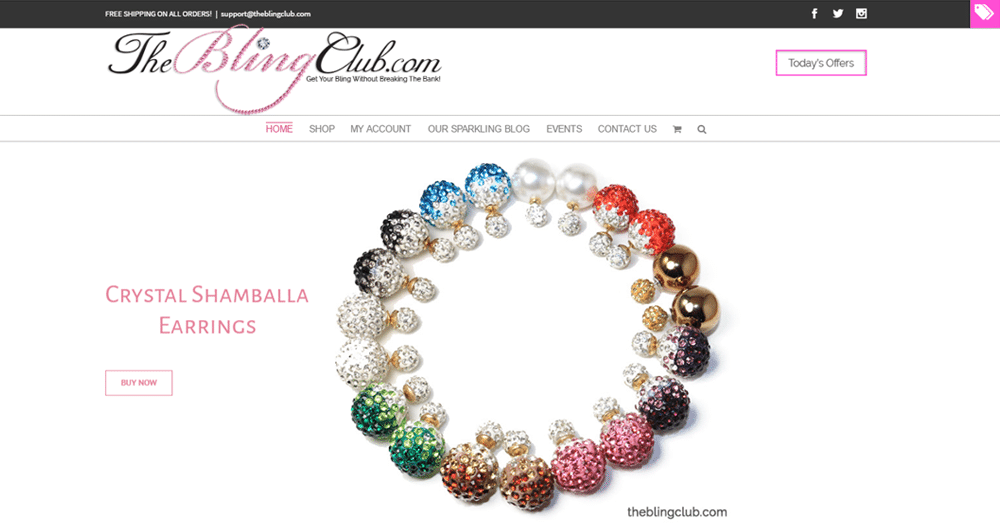 The Bling Club website. Client-portfolio-Wordsrack