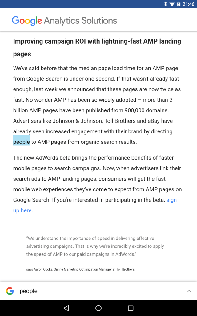 analytics google blog AMP Pages Screenshot 2