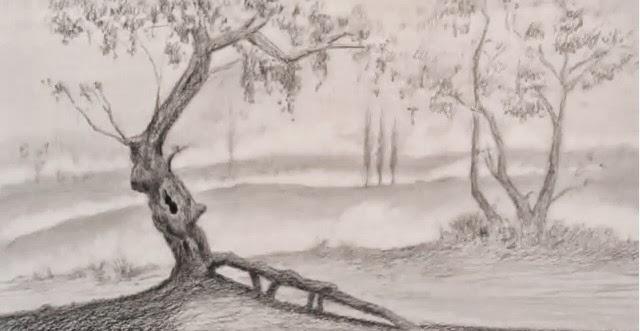 رسم منظر طبيعي بالرصاص سهل