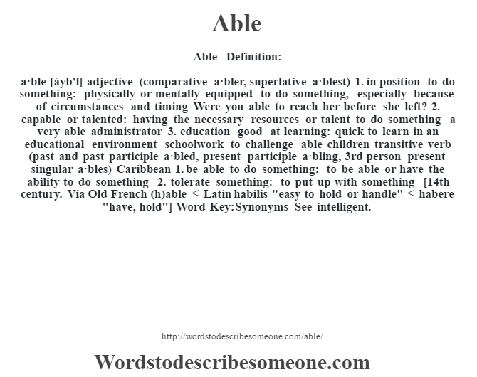 Able definition | Able meaning - words to describe someone