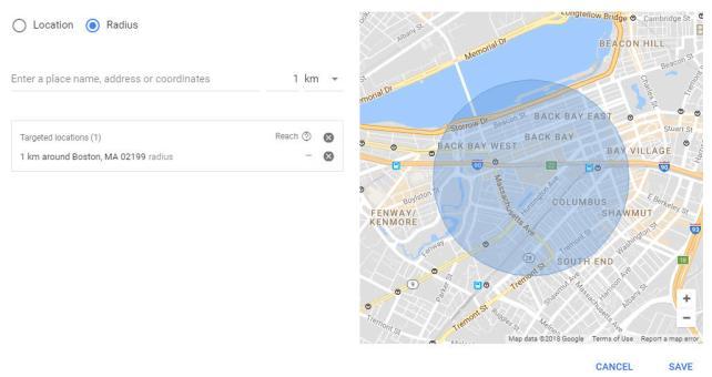 configurações de geolocalização do Google AdWords segmentando quilômetros