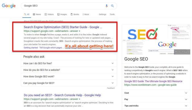 Resultados de pesquisa do Guia SEO do Google