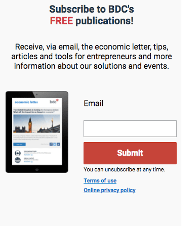 call to action examples for email newsletter signups- Business Development Bank of Canada