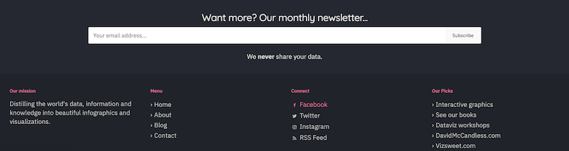 call to action examples for email newsletter signups data viz