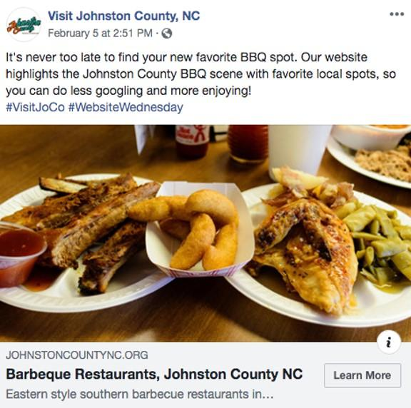 a Facebook ad for the Johnston County Visitors Bureau
