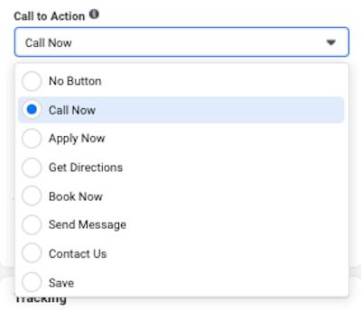 facebook click to call ads Reach CTA Button call now