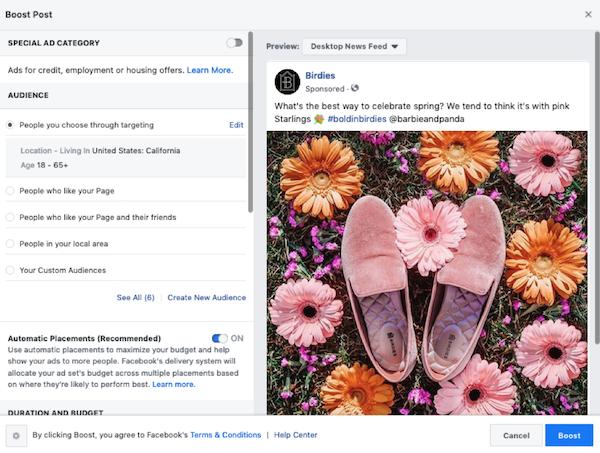 facebook sponsored posts audience