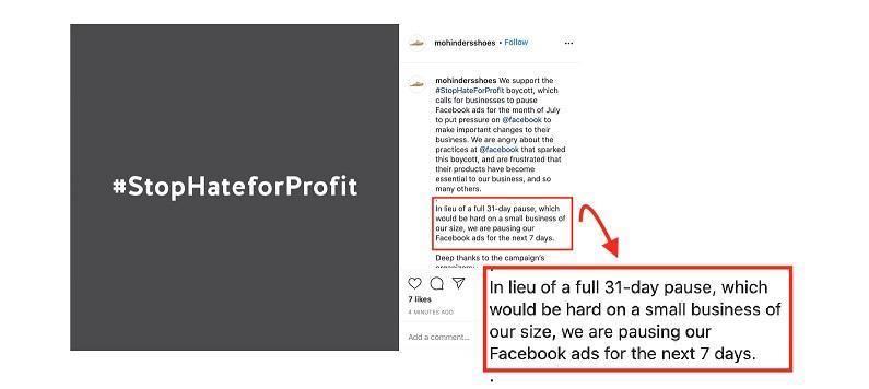 Facebook advertising boycott for 7 days example