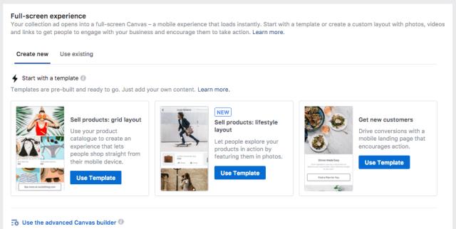 Modelo de anúncios de tela do Facebook