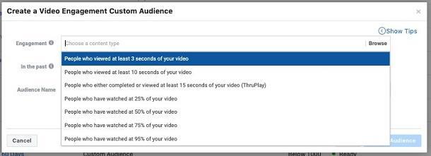 Facebook video marketing custom audience