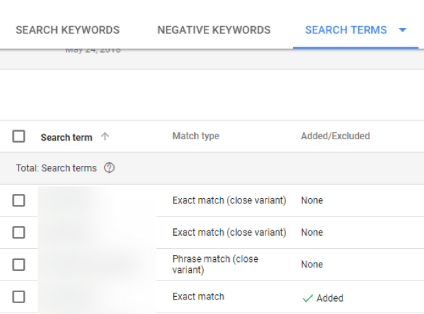 google ads search terms report change screenshot of report