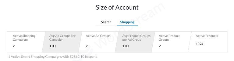 Google Shopping help grader account size