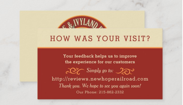 how to ask for reviews business card