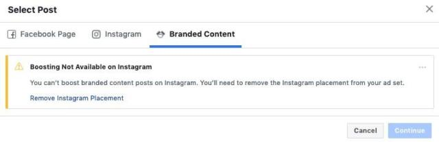 branded content instagram ad manager view