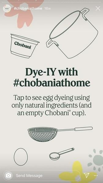 Instagram Story Highlights example from Chobani