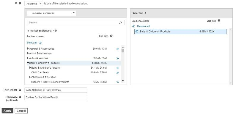 remarketing audience example with Microsoft IF function